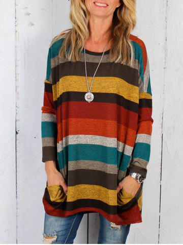 Striped Pattern Drop Shoulder Tunic Top
