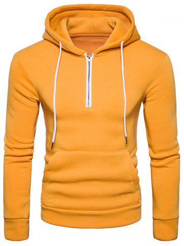 Yellow S Half Zip Pouch Pocket Fleece Pullover Hoodie | RoseGal.com