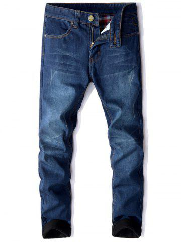 Discount Zip Fly Straight Leg Flocking Jeans