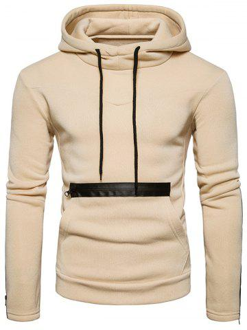 Beige S Fleece Edging Zipper Pullover Hoodie | RoseGal.com