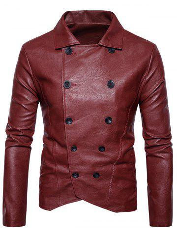PU Leather Double Breasted Jacket