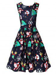 Vintage Santa Claus Print Christmas Skater Dress -
