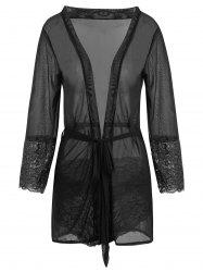 Mesh Sheer Short Wrap Babydoll Dress -
