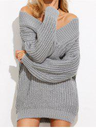 Off The Shoulder Mini Chunky Sweater Dress -
