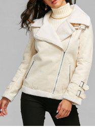 Oblique Zipper Lapel Faux Shearling Coat -