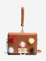 Pompoms Multi Colors Faux Leather Handbag -