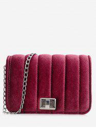 Chain Hasp Striped Crossbody Bag -