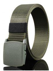 Vintage Metal Buckle Embellished Canvas Belt -