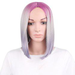 Short Center Parting Ombre Straight Bob Synthetic Wig -
