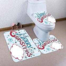 3Pcs Merry Christmas Letter Printed Bath Toilet Mats Set -