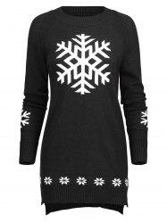 Long Knit Snowflake Sweater -