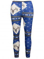 Antlers Print High Waisted Christmas Leggings -