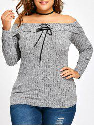 Plus Size Off The Shoulder Foldover Knitwear -