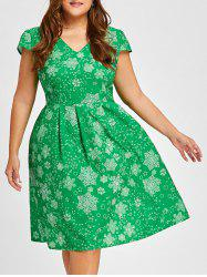 Christmas Snowflake V Neck Vintage Plus Size Dress -