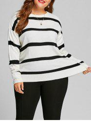 Striped Plus Size Color Block Sweater -