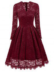 Lace Long Sleeve Vintage A Line Party Dress -
