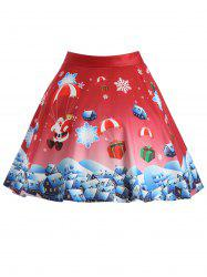 Plus Size Christmas Gift Santa Claus Print Skirt -