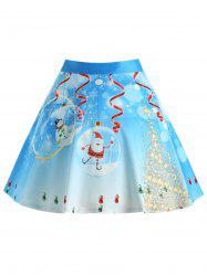Christmas Tree Santa Claus Print Plus Size Skirt -