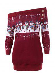 Christmas Plus Size Off The Shoulder Snowman Sweatshirt -