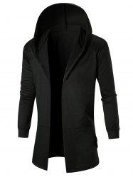 Stretch Long Open Front Hooded Coat -