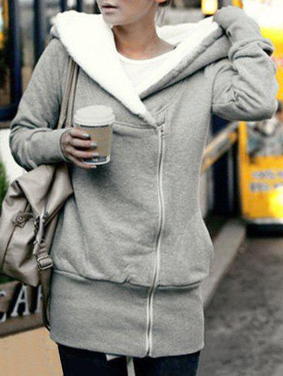 Zip Up Tunic Fleece HoodieWOMEN<br><br>Size: 2XL; Color: LIGHT GRAY; Material: Polyester; Shirt Length: Regular; Sleeve Length: Full; Style: Fashion; Pattern Style: Others; Season: Winter; Weight: 0.4000kg; Package Contents: 1 x Hoodie;