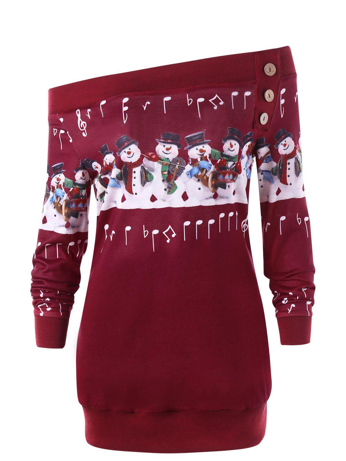 Christmas Plus Size Off The Shoulder Snowman SweatshirtWOMEN<br><br>Size: 2XL; Color: RED; Material: Polyester,Spandex; Shirt Length: Long; Sleeve Length: Full; Style: Casual; Pattern Style: Others; Embellishment: Button; Season: Fall,Spring; Weight: 0.3300kg; Package Contents: 1 x Sweatshirt;