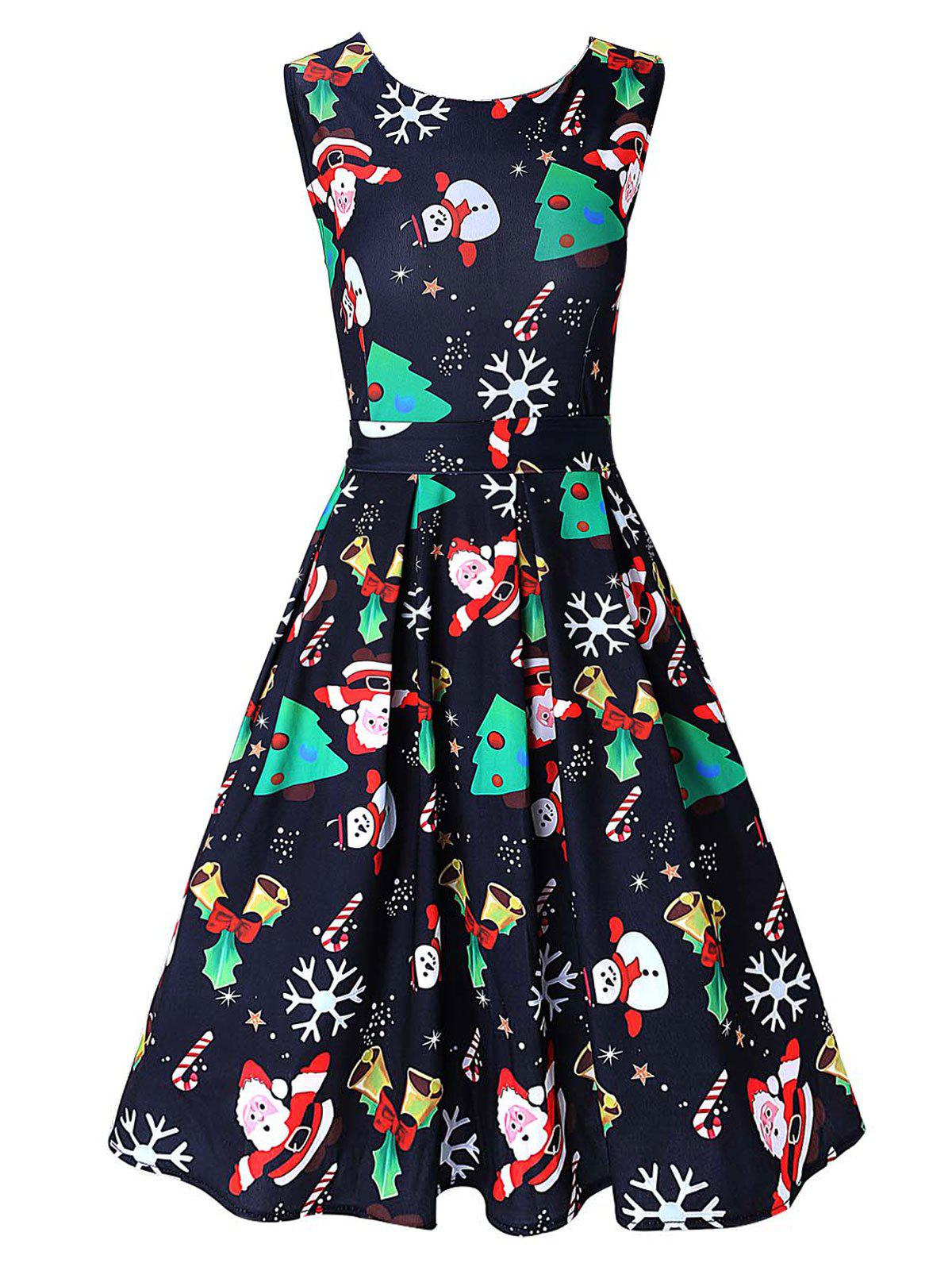 Vintage Santa Claus Print Christmas Skater DressWOMEN<br><br>Size: L; Color: PURPLISH BLUE; Style: Vintage; Material: Polyester,Spandex; Silhouette: A-Line; Dresses Length: Knee-Length; Neckline: Round Collar; Sleeve Length: Sleeveless; Pattern Type: Print; With Belt: No; Season: Fall,Spring; Weight: 0.4200kg; Package Contents: 1 x Dress;
