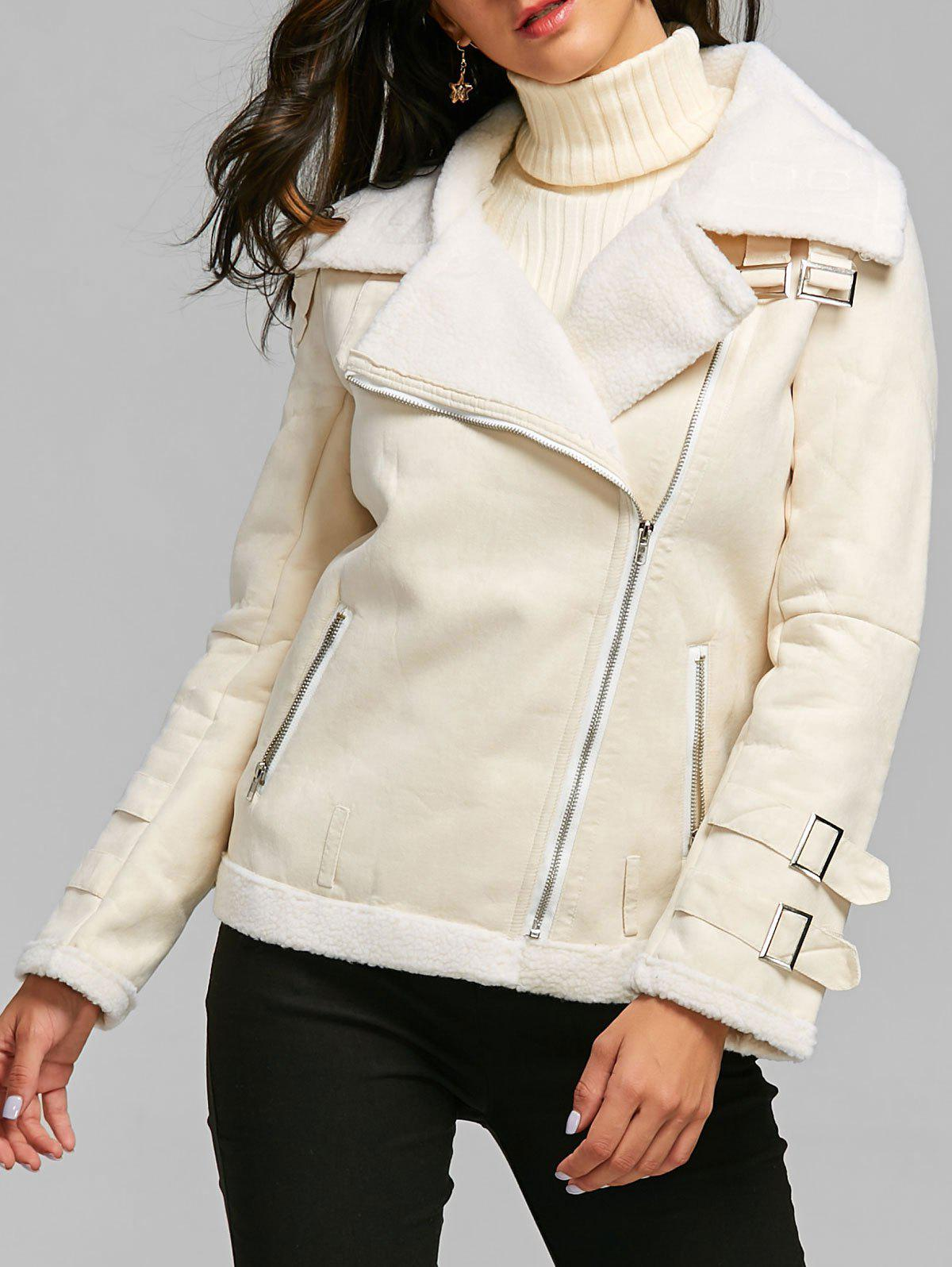 Buy Oblique Zipper Lapel Faux Shearling Coat