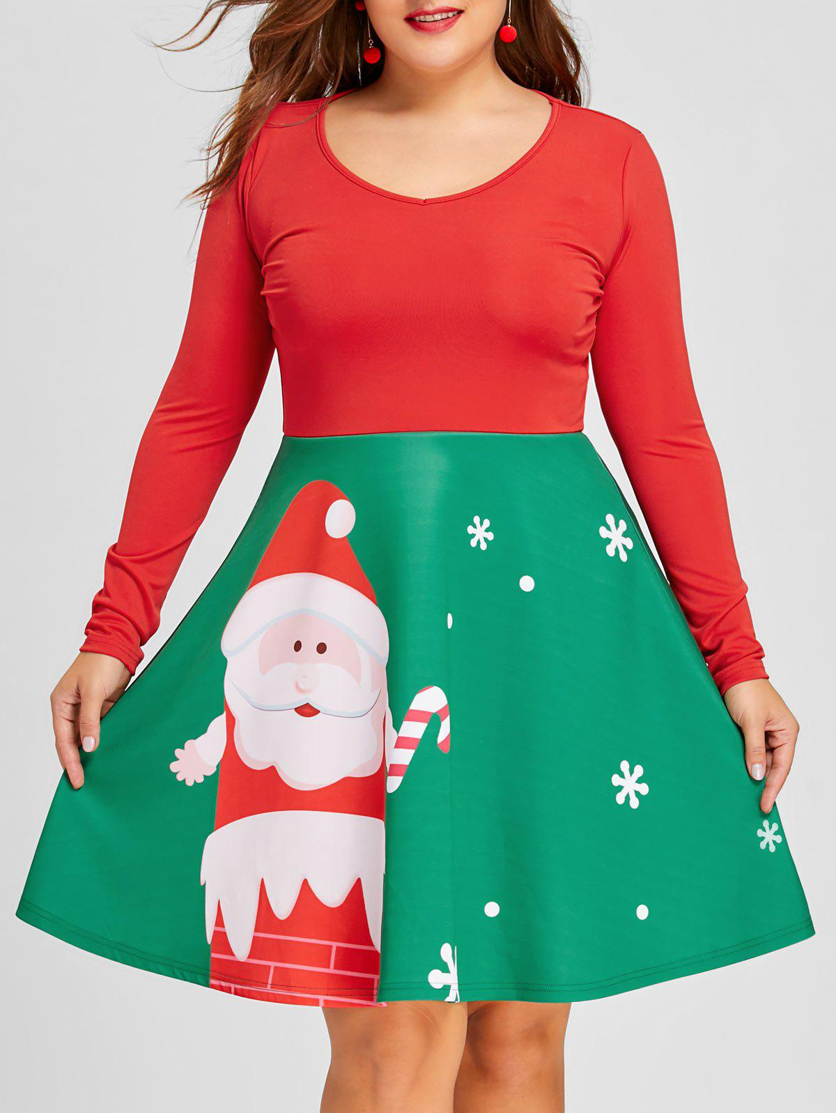 Plus Size Christmas Long Sleeve Santa Print DressWOMEN<br><br>Size: 2XL; Color: RED AND GREEN; Style: Casual; Material: Polyester,Spandex; Silhouette: A-Line; Dresses Length: Mini; Neckline: Round Collar; Sleeve Length: Long Sleeves; Pattern Type: Character; With Belt: No; Season: Fall,Spring; Weight: 0.4760kg; Package Contents: 1 x Dress;