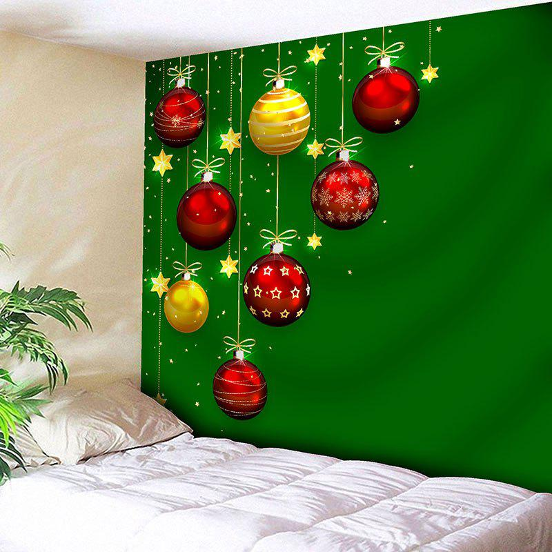 Christmas Balls And Stars Patterned Wall Decor TapestryHOME<br><br>Size: W91 INCH * L71 INCH; Color: GREEN AND RED; Style: Festival; Theme: Christmas; Material: Velvet; Feature: Removable,Waterproof; Shape/Pattern: Ball,Star; Weight: 0.4100kg; Package Contents: 1 x Tapestry;
