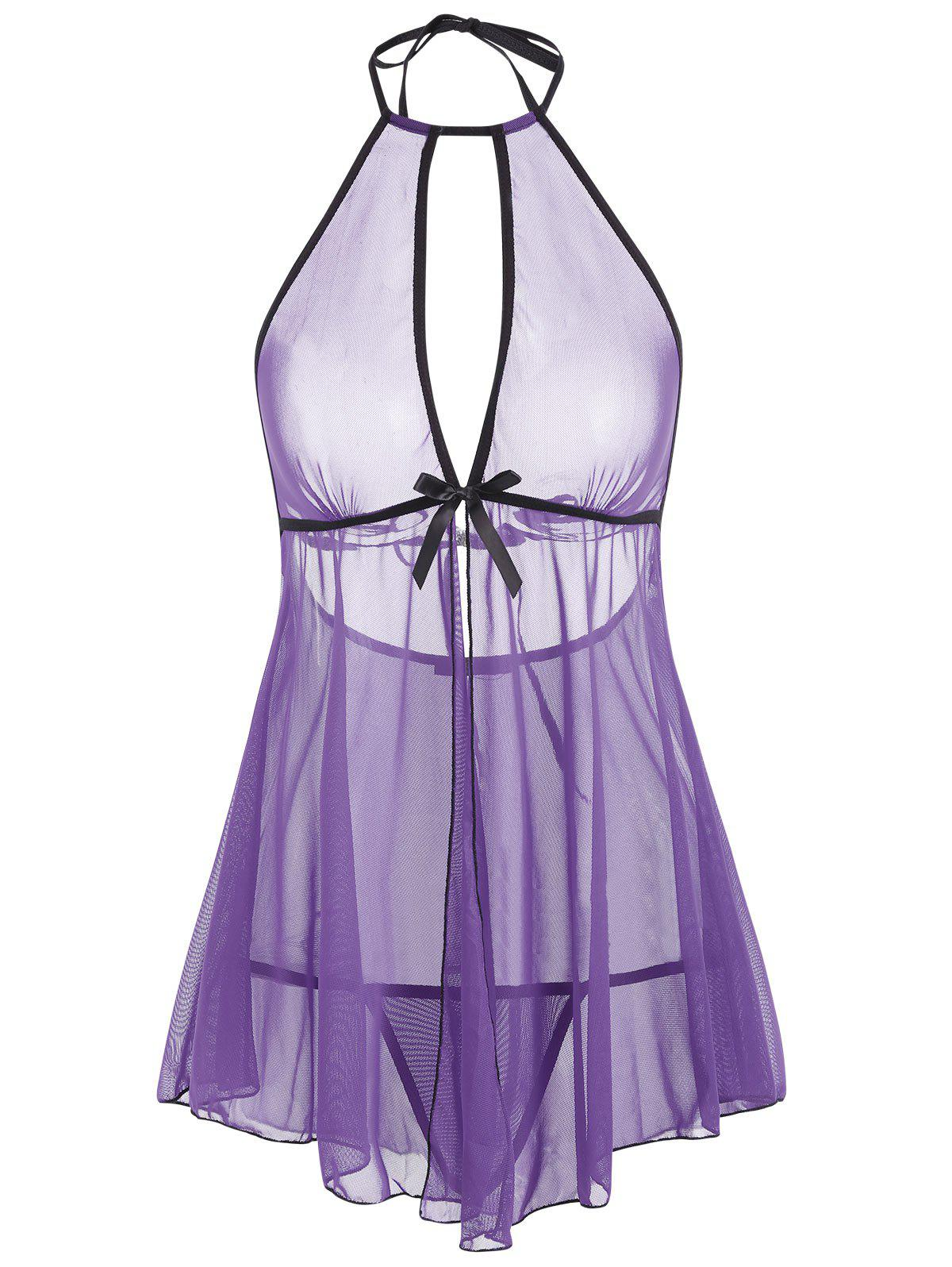 Buy Mesh Backless Split Sheer Babydoll