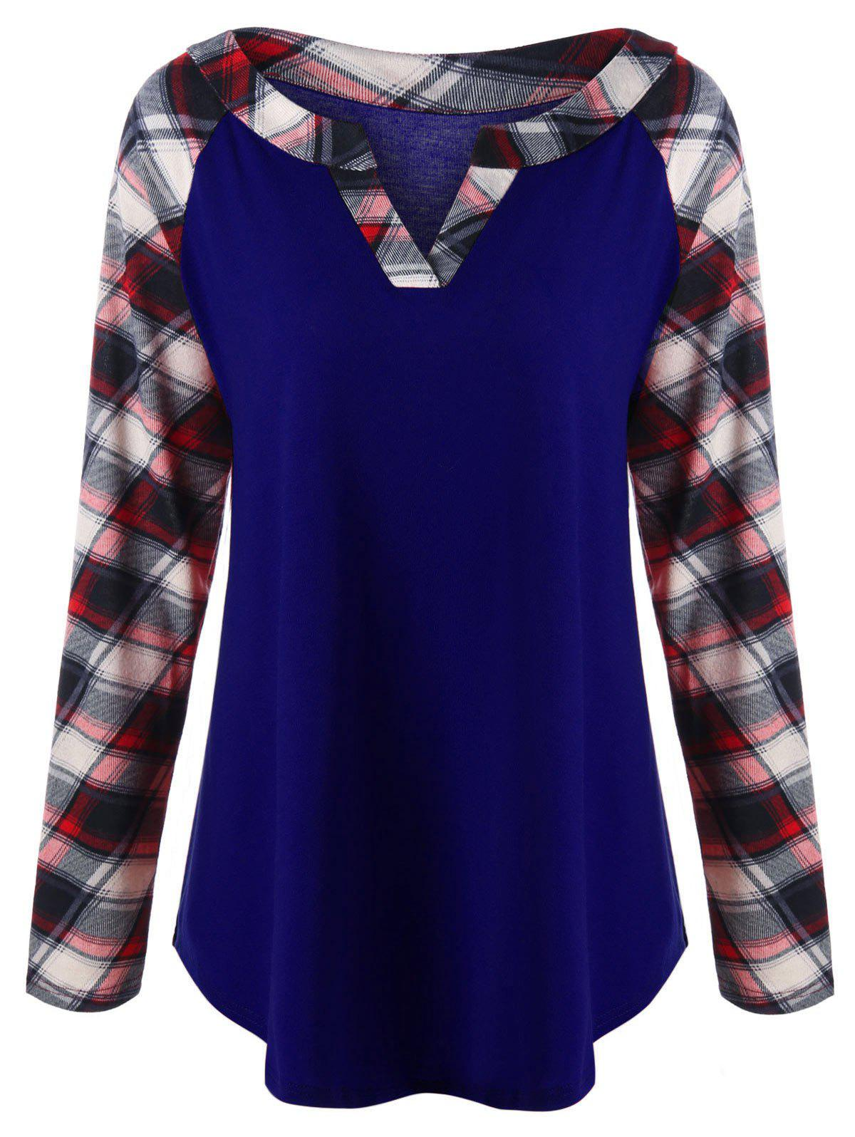 Plus Size Raglan Sleeve Plaid T-shirtWOMEN<br><br>Size: XL; Color: BLUE; Material: Rayon,Spandex; Shirt Length: Long; Sleeve Length: Full; Collar: V-Neck; Style: Casual; Season: Fall,Spring; Pattern Type: Plaid; Weight: 0.3000kg; Package Contents: 1 x Top;