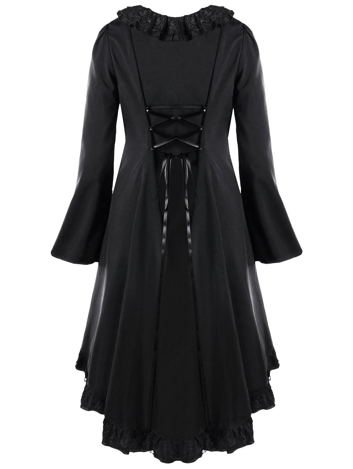 Plus Size Flounce Lace Panel Back Criss Cross High Low  DressWOMEN<br><br>Size: 4XL; Color: BLACK; Style: Casual; Material: Polyester,Spandex; Silhouette: Asymmetrical; Dresses Length: Mid-Calf; Neckline: V-Neck; Sleeve Type: Flare Sleeve; Sleeve Length: Long Sleeves; Embellishment: Button,Criss-Cross,Flounce,Lace,Panel; Pattern Type: Others; With Belt: No; Season: Fall,Spring,Winter; Weight: 0.4000kg; Package Contents: 1 x Dress;