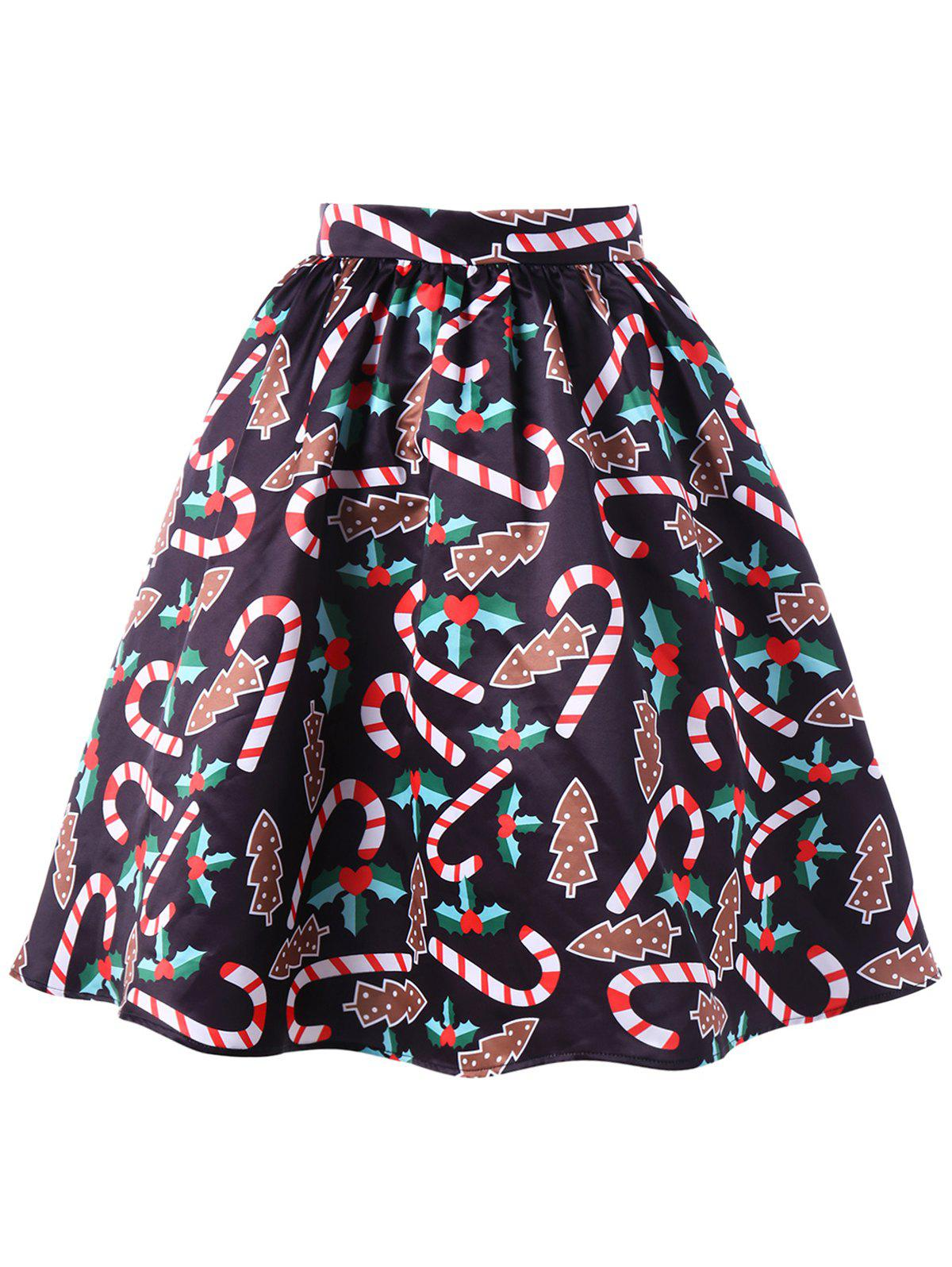 Discount Christmas Graphic Flare Skirt