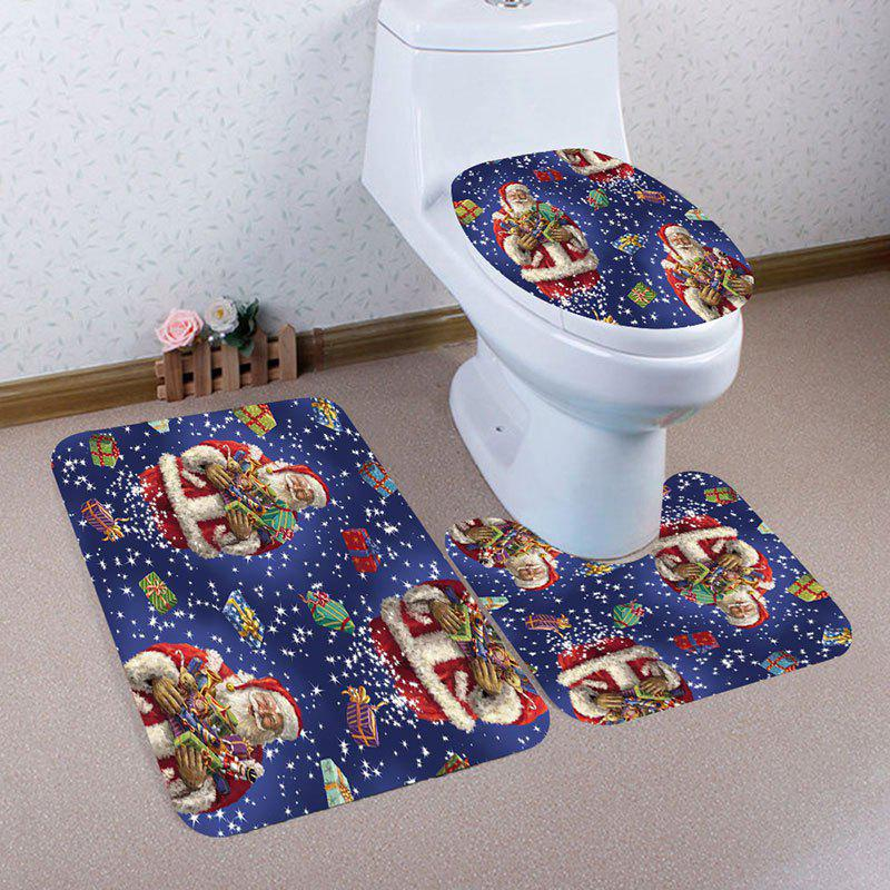 Discount Nonslip Santa Claus and Gifts Printed 3Pcs Bath Toilet Mats Set