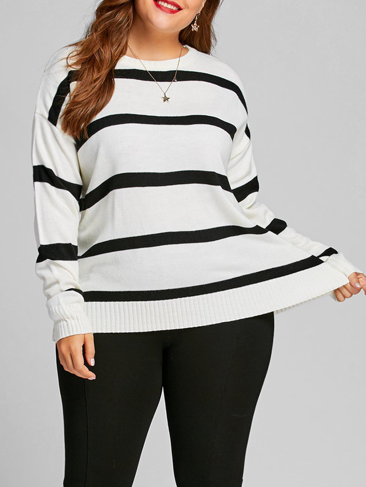 Discount Striped Plus Size Color Block Sweater