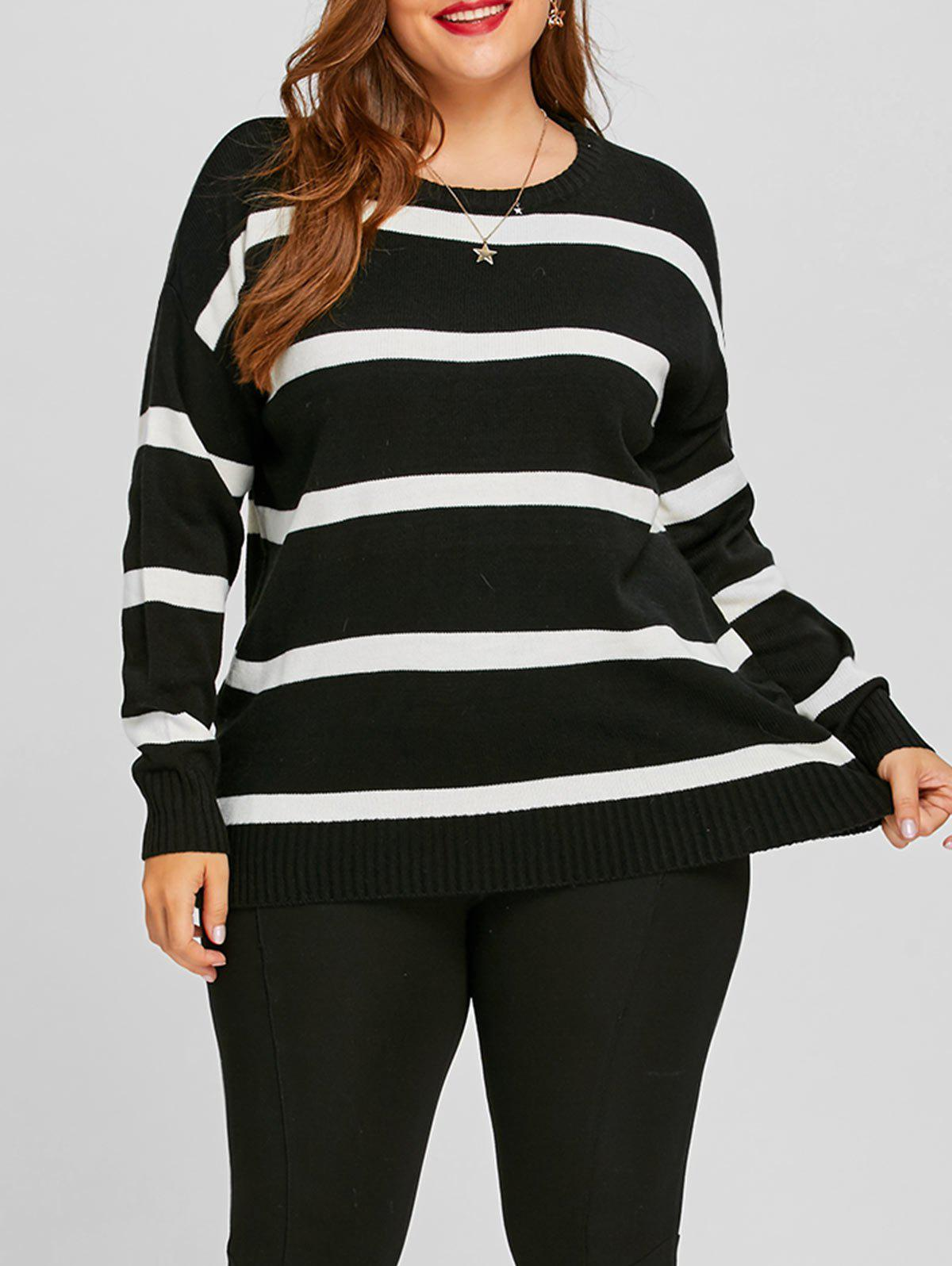 Outfit Striped Plus Size Color Block Sweater