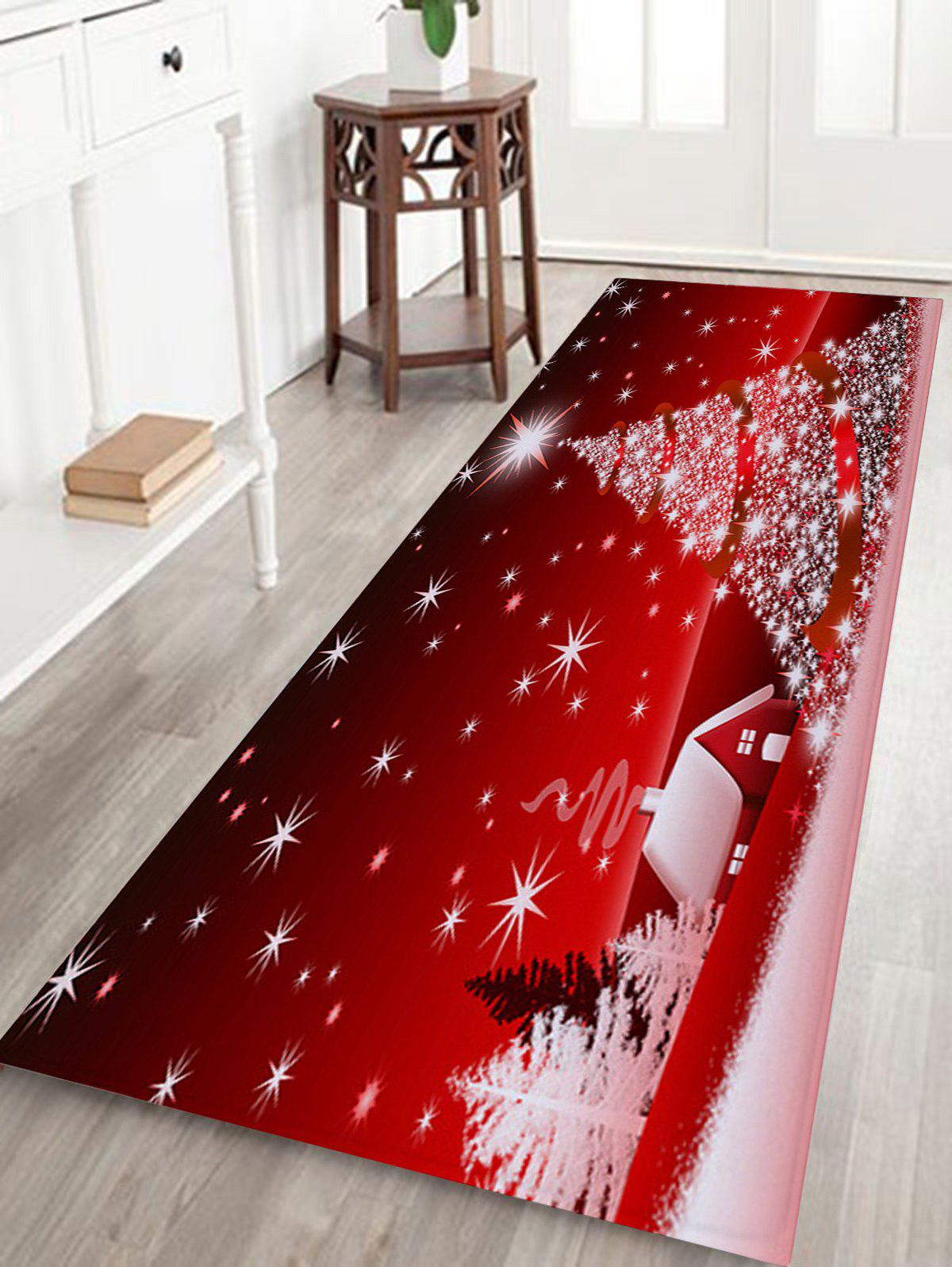 Online Christmas Tree House Pattern Anti-skid Water Absorption Area Rug