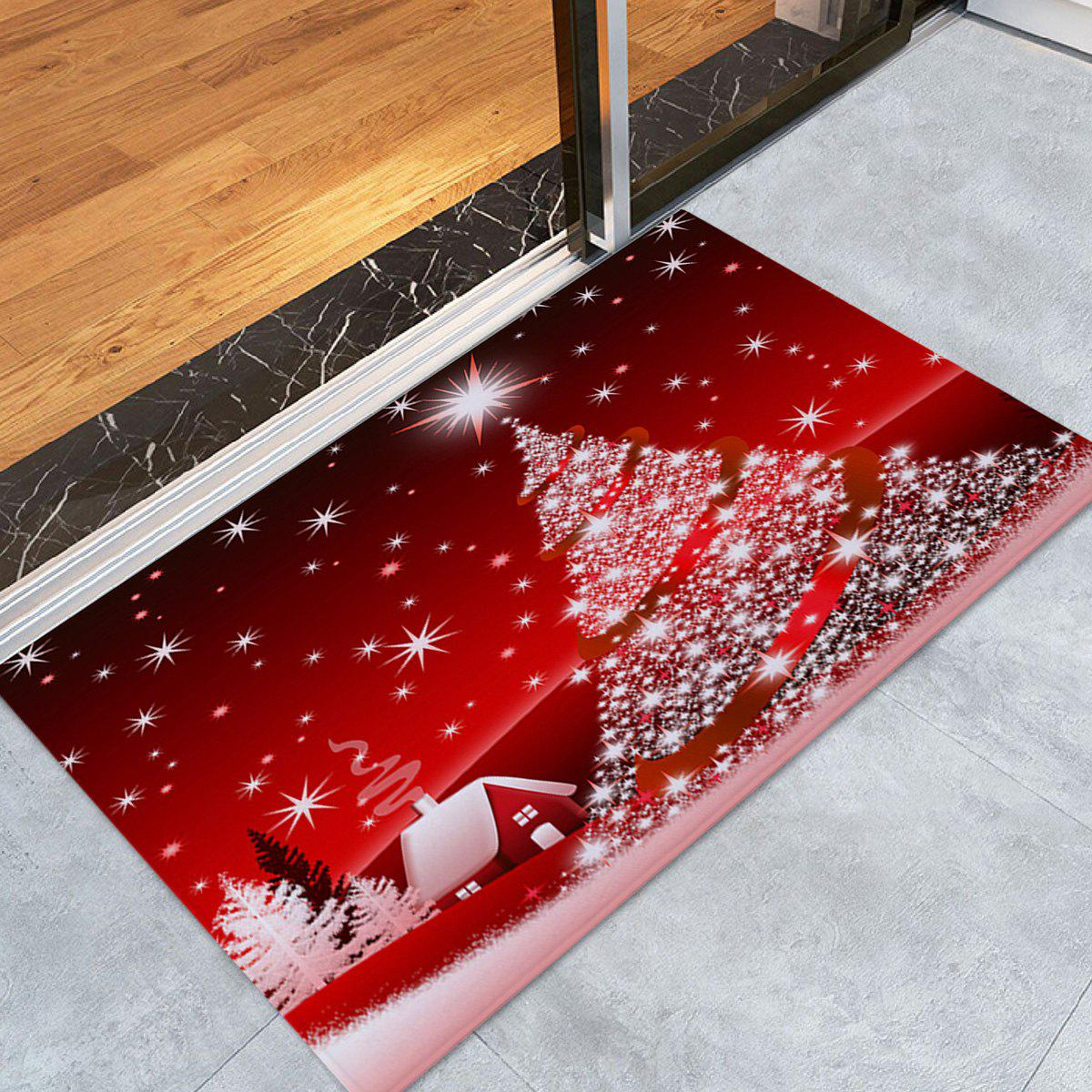 Christmas Tree House Pattern Anti-skid Water Absorption Area RugHOME<br><br>Size: W16 INCH * L24 INCH; Color: RED; Products Type: Bath rugs; Materials: Flannel; Pattern: Christmas Tree; Style: Festival; Shape: Rectangle; Package Contents: 1 x Rug;