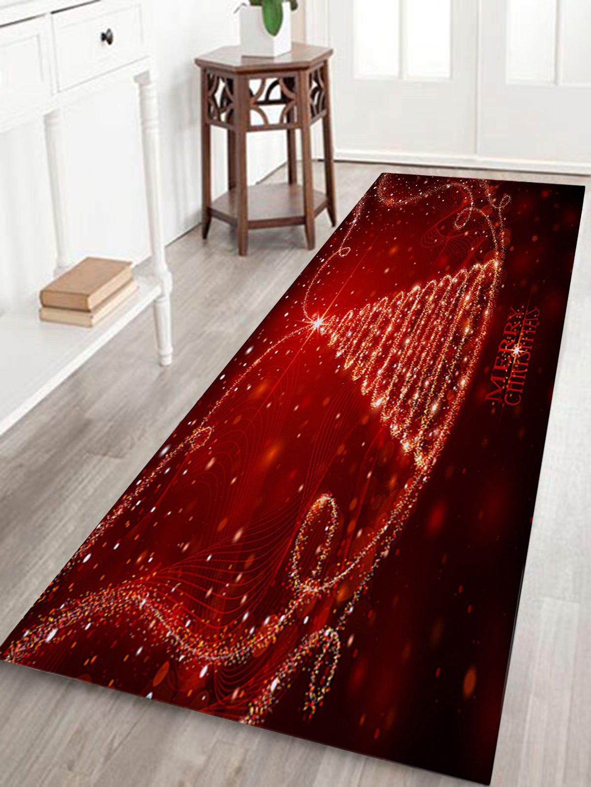 Christmas Star Tree Letter Pattern Anti-skid Water Absorption Area RugHOME<br><br>Size: W16 INCH * L47 INCH; Color: RED; Products Type: Bath rugs; Materials: Flannel; Pattern: Christmas Tree,Letter; Style: Festival; Shape: Rectangle; Package Contents: 1 x Rug;