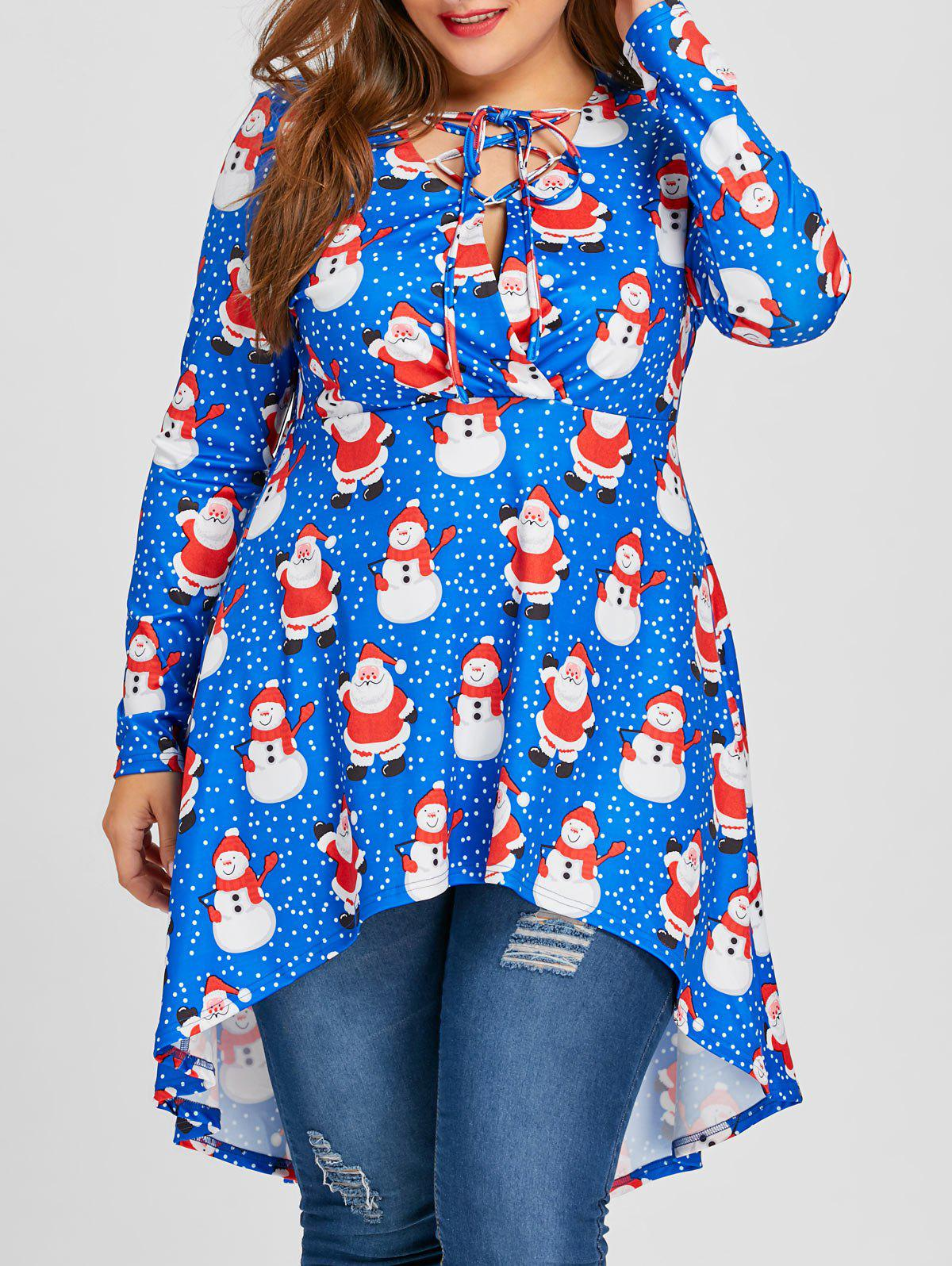 8a92ae6bd0c43 2019 Plus Size Christmas Snowman And Santa Print Lace Up Long Top ...