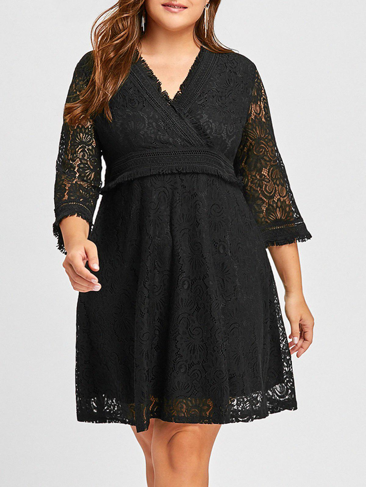 Plus Size Fringed Floral Lace Surplice DressWOMEN<br><br>Size: 2XL; Color: BLACK; Style: Casual; Material: Polyester; Silhouette: A-Line; Dresses Length: Knee-Length; Neckline: V-Neck; Sleeve Length: 3/4 Length Sleeves; Embellishment: Lace; Pattern Type: Solid Color; With Belt: No; Season: Fall,Spring; Weight: 0.4300kg; Package Contents: 1 x Dress;