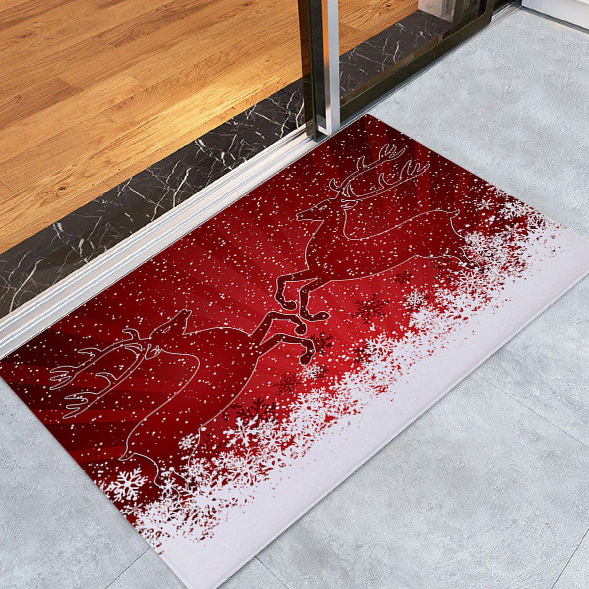 Christmas Snowfield Deer Pattern Anti-skid Water Absorption Area RugHOME<br><br>Size: W24 INCH * L35.5 INCH; Color: RED; Products Type: Bath rugs; Materials: Flannel; Pattern: Animal,Snow; Style: Festival; Shape: Rectangle; Package Contents: 1 x Rug;