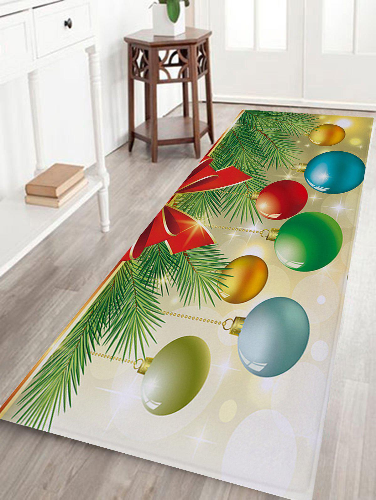 Christmas Baubles Pine Tree Pattern Anti-skid Water Absorption Area RugHOME<br><br>Size: W24 INCH * L71 INCH; Color: COLORMIX; Products Type: Bath rugs; Materials: Flannel; Pattern: Ball,Plant; Style: Festival; Shape: Rectangle; Package Contents: 1 x Rug;