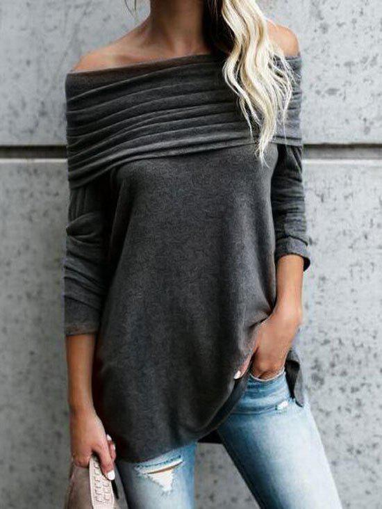 Fashion Ruched Off The Shoulder Blouse
