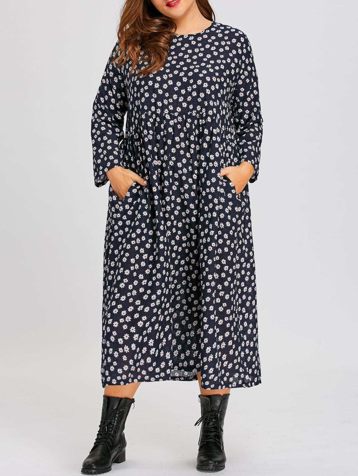 Plus Size Tiny Floral Country Dress with Sleeves