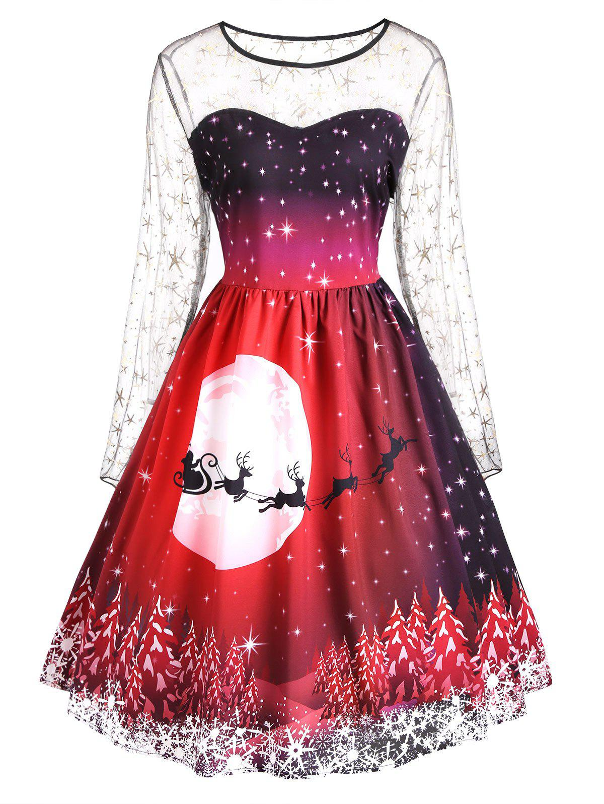 Plus Size Christmas Print Mesh Panel DressWOMEN<br><br>Size: XL; Color: COLORMIX; Style: Vintage; Material: Polyester; Silhouette: A-Line; Dresses Length: Mid-Calf; Neckline: Round Collar; Sleeve Length: Long Sleeves; Embellishment: Panel; Pattern Type: Print,Star; With Belt: No; Season: Fall,Spring; Weight: 0.2800kg; Package Contents: 1 x Dress;