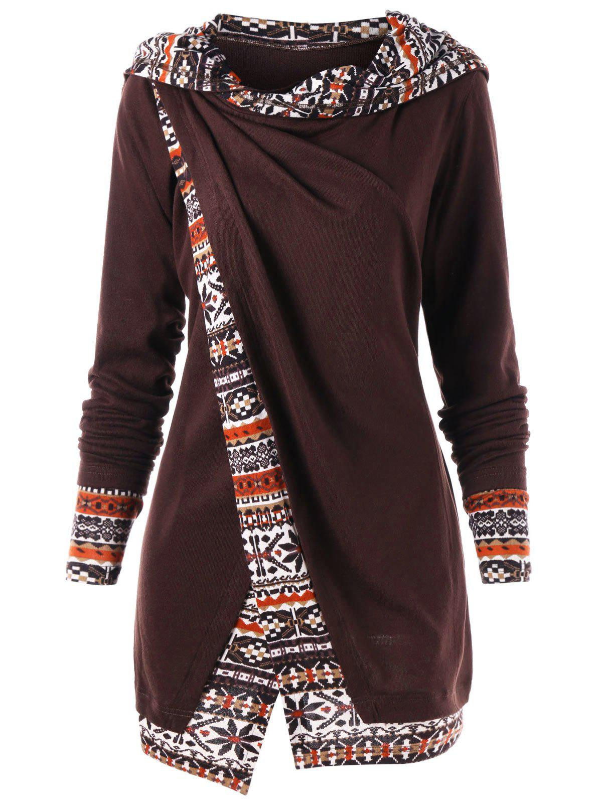 Printed Hem Overlap Tunic HoodieWOMEN<br><br>Size: XL; Color: DEEP BROWN; Material: Polyester; Shirt Length: Long; Sleeve Length: Full; Style: Casual; Pattern Style: Others; Season: Fall,Spring; Weight: 0.3700kg; Package Contents: 1 x Hoodie;