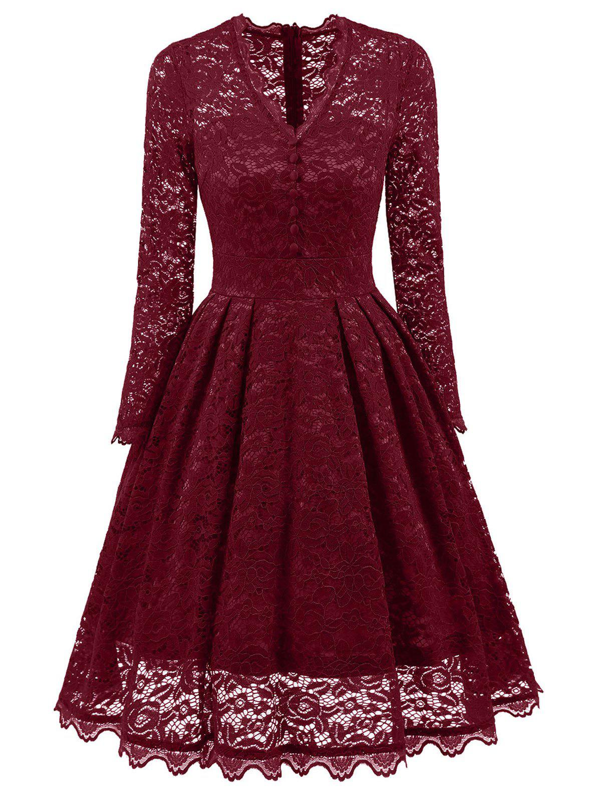 V-neck Lace Party Vintage A Line DressWOMEN<br><br>Size: XL; Color: WINE RED; Style: Vintage; Material: Polyester; Silhouette: A-Line; Dresses Length: Knee-Length; Neckline: V-Neck; Sleeve Length: Long Sleeves; Embellishment: Lace; Pattern Type: Solid; With Belt: No; Season: Fall,Spring; Weight: 0.4900kg; Package Contents: 1 x Dress;