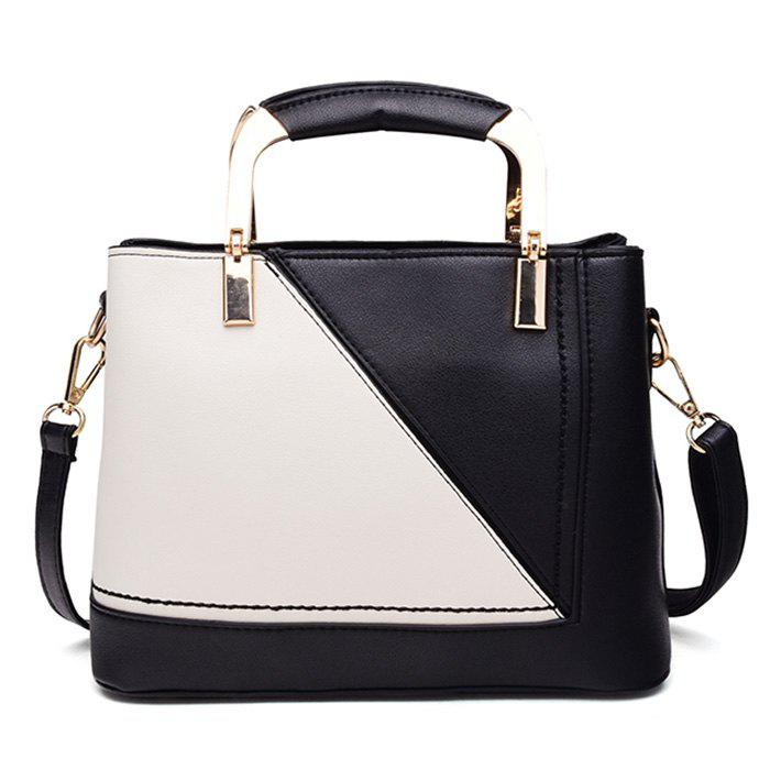 Geometric Color Block Handbag With PendantSHOES &amp; BAGS<br><br>Size: HORIZONTAL; Color: BLACK; Handbag Type: Totes; Style: Fashion; Gender: For Women; Pattern Type: Patchwork; Handbag Size: Small(20-30cm); Closure Type: Zipper; Occasion: Versatile; Main Material: PU; Weight: 0.7000kg; Package Contents: 1 x Handbag;
